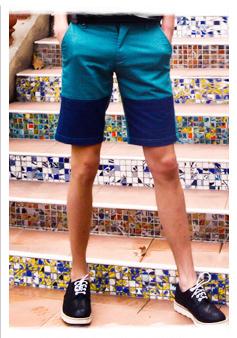 五分湖蓝短裤